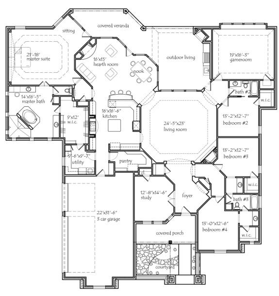 Texas house plans One floor house plans